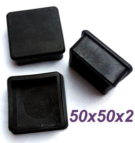 50 x fußkappen 50x50x2 mm tube bouchon extrémités NOIR BOUCHONS NEUF
