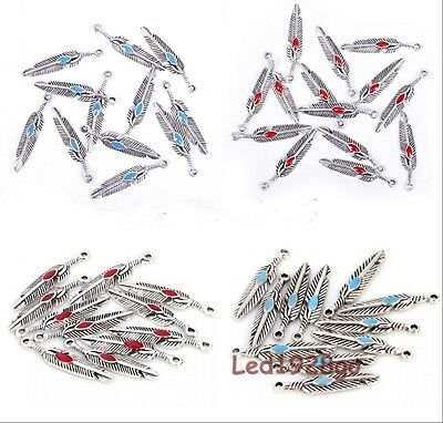 New 10/20/100pcs Tibetan Silver Turquoise/Red Leaf Shaped Charms Pendant 27x5mm
