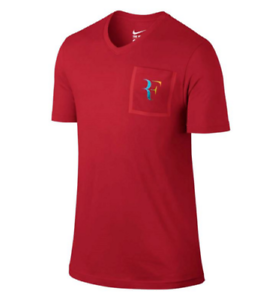 Details about 803882-657 New with tag Nike court men RF Tennis Roger  Federer Pocket Tee shirt