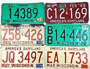 Wisconsin-1970s-1965-Old-License-Plate-Garage-Vtg-Car-Tag-Man-Cave-PICK-A-PLATE