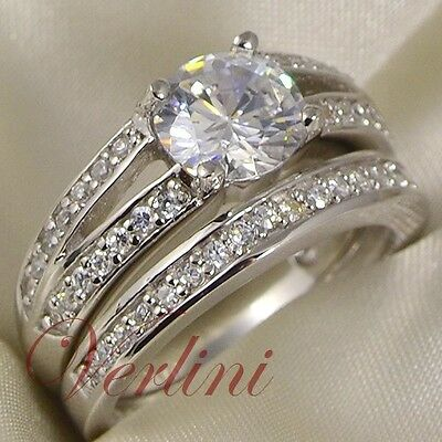 2 Ct Round Cut Simulated Diamond Silver Wedding Ring Set Women Jewelry Size 5-10