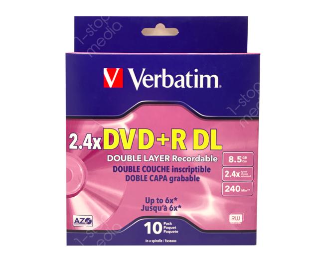 10-pk Verbatim Dual Layer DVD+R Cakebox - 2.4x 8.5GB 240 mins w AZO #95166