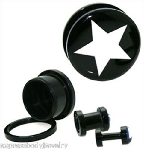 Paire Acrylique Noir Vis Tunnel Cachette bouchons d/'oreille blanc crème étoile sur noir Jauges