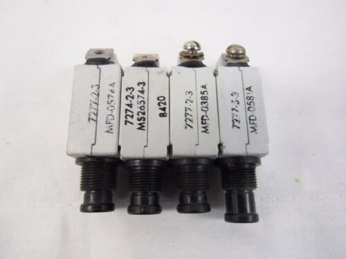 Lot of 4 TEXAS INSTRUMENTS KLIXON 3 AMP CIRCUIT BREAKER 7277-2-3