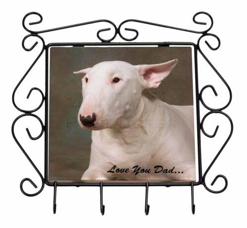 Bull Terrier Dog /'Love You Dad/' Wrought Iron Key Holder Hooks Christma DAD-15KH