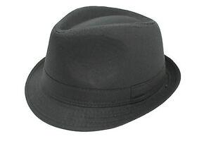 Hombre-Mujer-Negro-Elegante-Clasico-Ganster-look-100-Algodon-Sombrero-Trilby