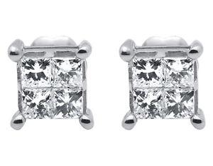 10K or Blanc 1//2 Ct Diamant Bleu Princesse Clous D/'Oreilles