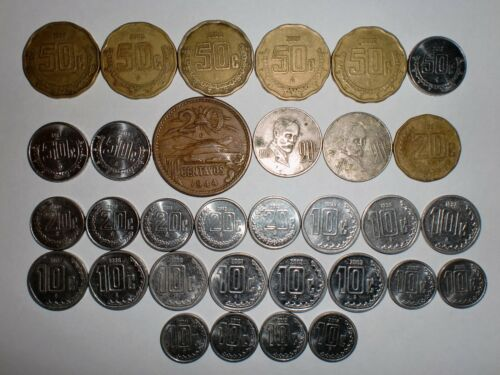 50 20 /& 10 CENTAVOS -1943-2014 5 MEXICO COIN LOT OF  32  OLD /& NEW COINS