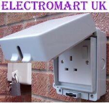 OUTDOOR GARDEN 1 GANG SINGLE 13 AMP SWITCHED SOCKET IP65 LOCKABLE WITH PADLOCK