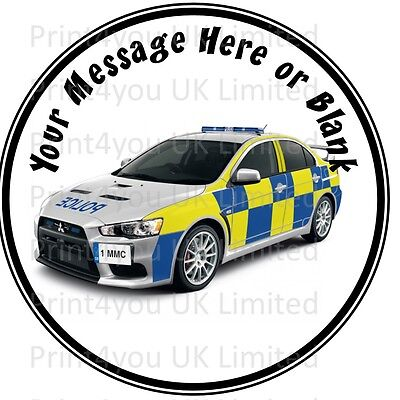 Police car birthday personalised round cake topper icing