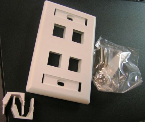 17 Peaces 4 Port Single-Gang Face Plate fits all ICC jacks and modules white