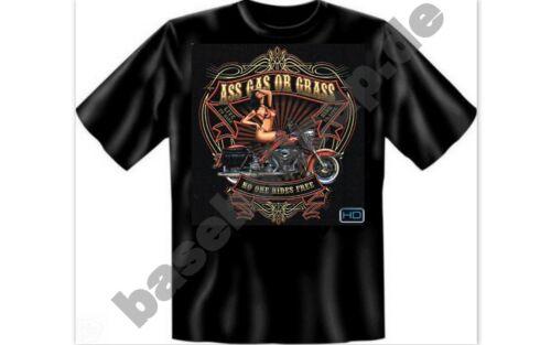 T-Shirt #460 ASS GAS OR GRAS Route 66 Biker USA Custombike Hot Rod USA Pin Up