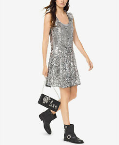 Michael-kors-Michael-sequined-slip-Designer-Party-Dress-size-8