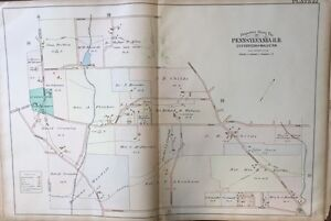ORIG 1900 DELAWARE COUNTY, PA, ST. DAVID'S EPISCOPAL CHURCH & CEMETERY ATLAS MAP