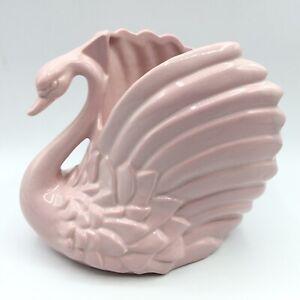 Vintage-Haeger-Pottery-USA-3492-Light-Pink-Swan-Planter-Vase-MCM-6-1-2-034-H