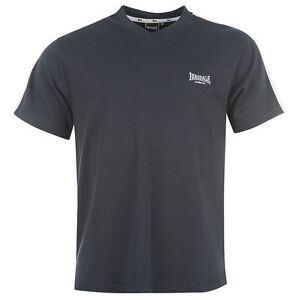 Tee-shirt-LONSDALE-col-V-bleu-marine-blanc-modele-034-2-Stripe-034-Du-S-au-XXL