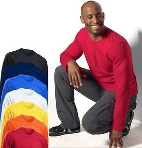 Hanes-Comfortsoft-Mens-Plain-Cotton-Long-Sleeve-T-Shirt-Tshirt-Tee-Shirt-S-3XL