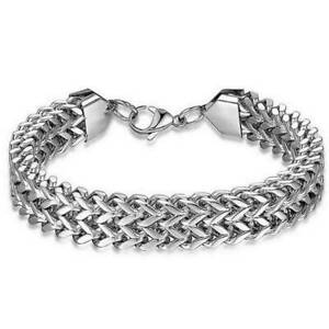 Mens-Stainless-Steel-Bracelet-Bike-Chain-Punk-Gothic-Biker-Style-Chrome-Silver