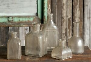 VINTAGE STYLE GLASS BOTTLE COLLECTION-Set of 5- Vases~ Wedding Decor