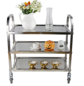 Details About 3 Tiers Stainless Steel Cart Kitchen Trolley Catering Storage Shelf With Wheels