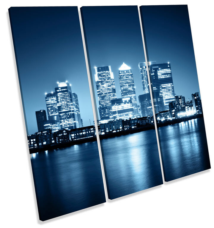 London Canary Wharf CITY TREBLE TELA Wall Wall Wall Art Quadrato foto stampa 025793