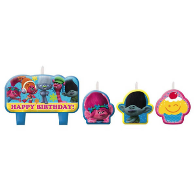 Dreamworks Trolls Birthday Party Cake Topper Candles 4 ...