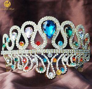 Wedding-Tiara-Crown-Royal-Headband-Rhinestone-Pageant-Head-Jewelry-W-Hair-Comb