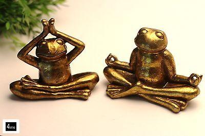 Design Dekofrosch (2er-Set GOLD) - Relaxfrosch Yoga Ohm Om Buddha Meditation