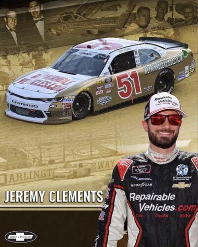 "2018 JEREMY CLEMENTS /""REX WHITE DARLINGTON THROWBACK #51 NASCAR XFINITY POSTCARD"
