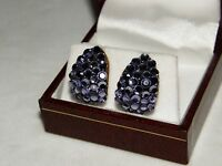 Austrian Crystal Earrings Purple Tanzanite Color Glittering Christmas Gift