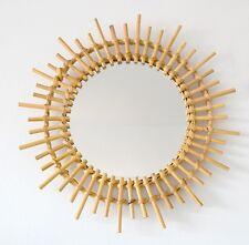 Joli miroir forme soleil en rotin style vintage années 50  60