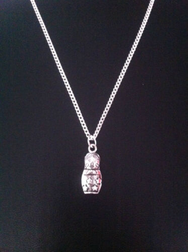 """RUSSIAN DOLL CHARM NECKLACE 18/"""" SILVER CHAIN IN GIFT BAG"""
