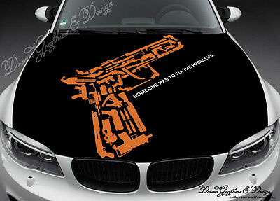 Guns Full Color Graphics Adhesive Vinyl Sticker Fit any Car Hood #162