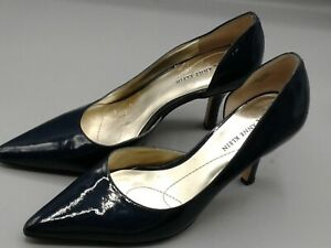 AK-Anne-Klein-Christa-Black-Faux-Patent-Leather-Womens-3-5-034-Heel-Shoes-Size-7-M