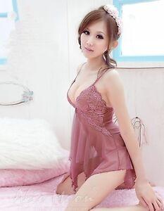 Tenue-Sexy-Lingerie-Femme-Robe-De-Nuit-Dentelle-Nuisette-Pyjama-V-Col-G-string
