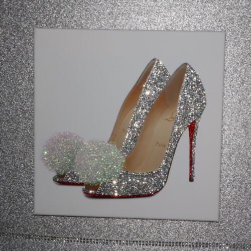 Glamour Sparkle Silver Glitter SHOE CANVAS PRINT wall art Any Size!!