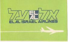 Vintage El Al Israel Airlines Airways Luggage Label Sticker