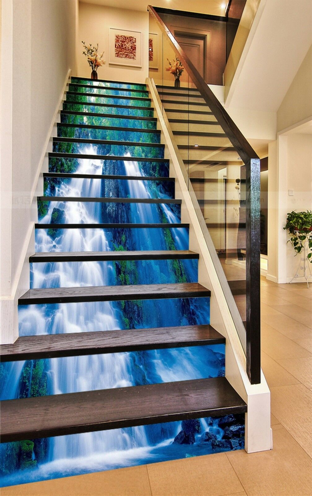 3D bluee Cascade Stair Risers Decoration Photo Mural Vinyl Decal Wallpaper AU