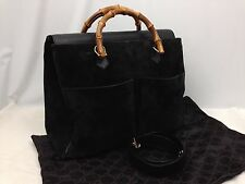 Authentic GUCCI Bamboo Hand bag Tote bag Leather Black Made In Italy 6B090210