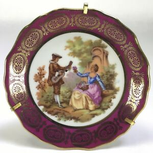 Vtg-LIMOGES-France-Mini-Cabinet-Plate-Victorian-Couple-Romance-Stand-Wall-4-034