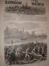 Universidad Internacional Boat Race Harvard Crew de retorno de la práctica de impresión de 1869