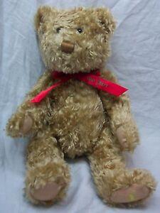 Hallmark-TAN-TEDDY-BEAR-W-RED-034-100-Years-034-BOW-13-034-Plush-STUFFED-ANIMAL-Toy