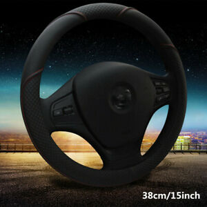 Comfortable-Car-Steering-Wheel-Cover-Black-amp-Red-Stitching-PU-Leather-38cm-15-039-039