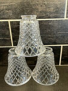 3 Vtg Heavy Clear Glass Diamond Flared Chandelier Sconce Globe Shades
