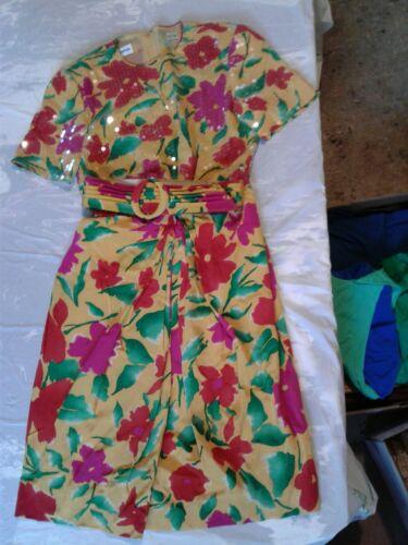 Vintage Albert Nipon Silk Dress With Belt Floral S