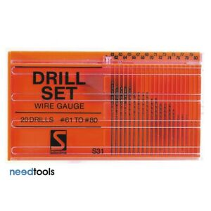DRILL-Set-Wire-Gauge-No-61-to-80-Sutton-Drill-Bit-sets-High-Speed-Steel-D101-S31