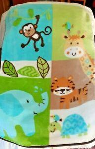 Garanimals Jungle Animals Soft Fleece Baby Blanket Giraffe Elephant Tiger Monkey