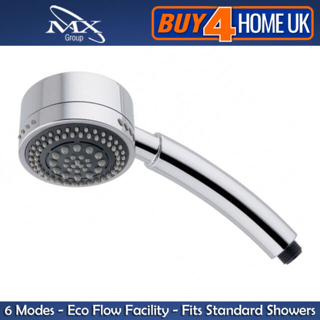 MX Chrome Shower Head Handset - Cascade 6 Mode (Replaces Most Leading Brands)