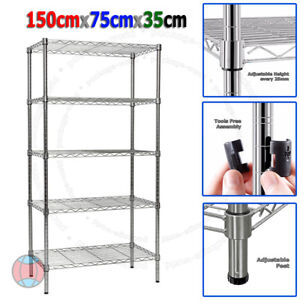 New-150X75X35cm-Real-Chrome-Wire-Heavy-Duty-Metal-Steel-Shelving-Shelf-Racks