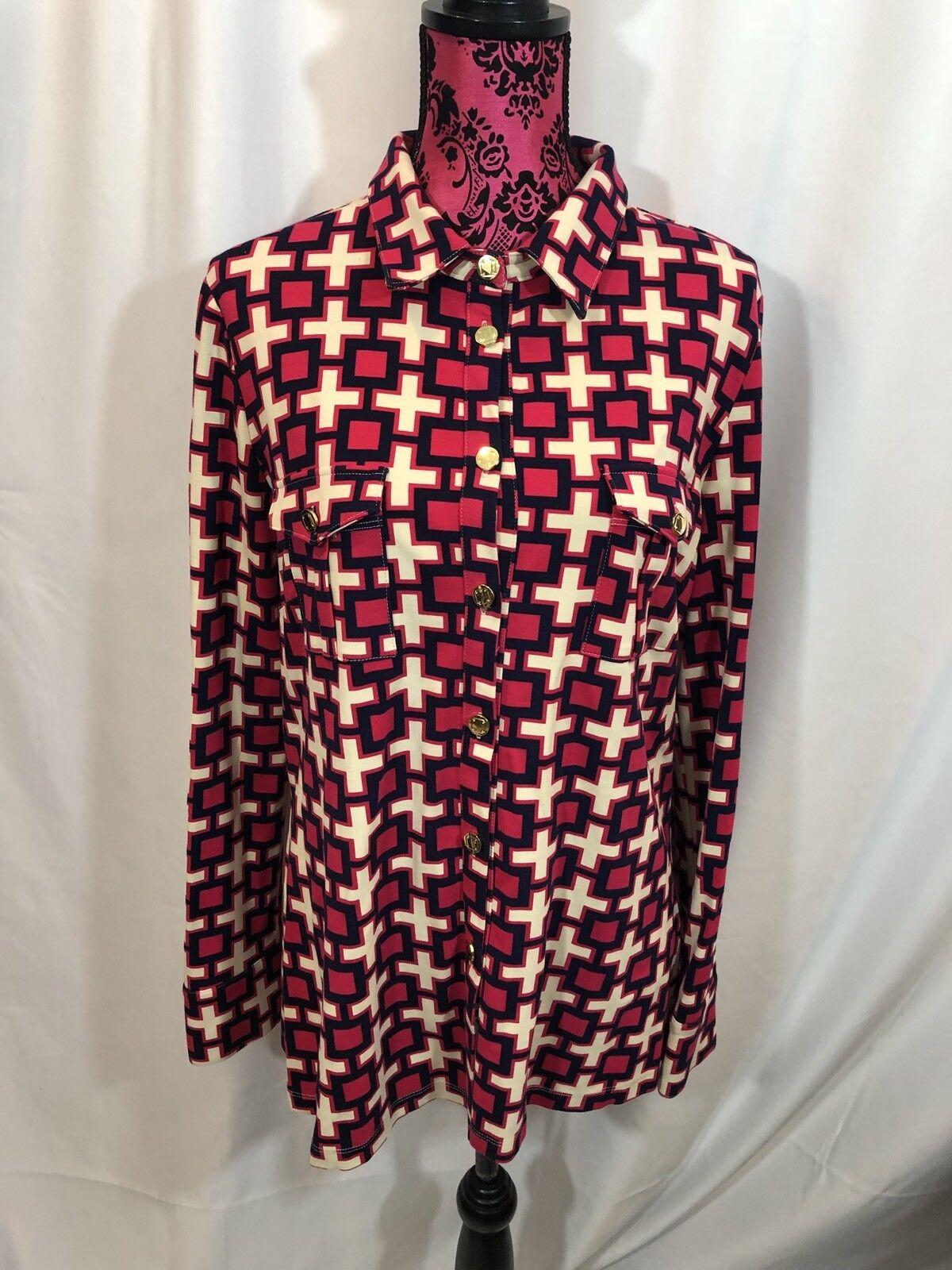 NWT Elizabeth McKay Pink Dark bluee White Cross Long Sleeve Top Size XL